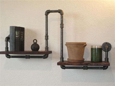 industrial plumbing pipe shelf by vintage pipe dreams