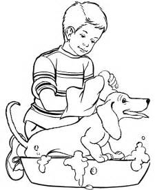 boy playing dog coloring coloring