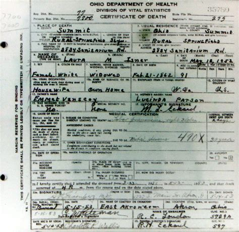 Akron Ohio Birth Records May Vanscoy 1862 1953