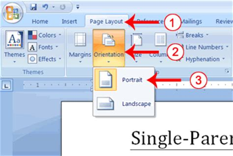 Landscape Microsoft Word Definition Set Word Pages To Print Orientations