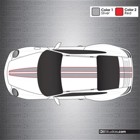 Stripe Top 008 porsche 997 008 dual color tapered top stripes for