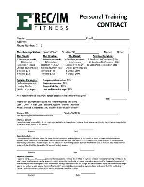 personal training contract pdf forms and templates