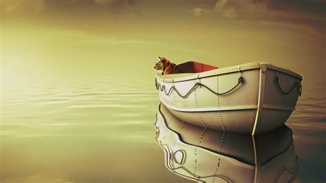 on a boat with a tiger life of pi boat tiger wallpapers hd wallpapers id 15443