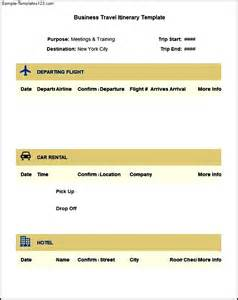 Business Itinerary Template Sample Business Travel Itinerary Template Free Download