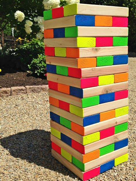 backyard jenga game how to make a colorful outdoor giant jenga game pet