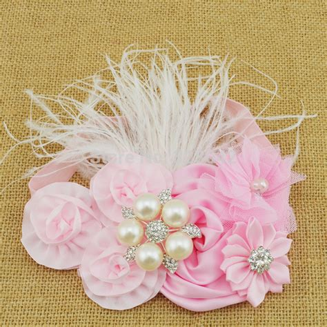 moq 1pcs satin rosettes flower headband pink tulle flower feather headband infant baby