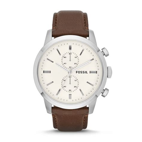 townsman chronograph brown leather fossil