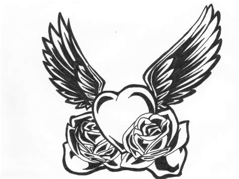pencil drawings tattoo designs free pencil drawings of hearts with wings and banners