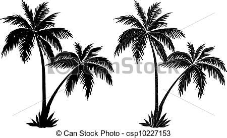 clipart vector  palm trees black silhouettes tropical