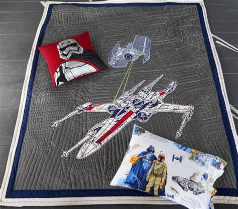 Pottery Barn Kids Death Star Star Wars X Wing Amp Tie Fighter Quilted Bedding Pottery