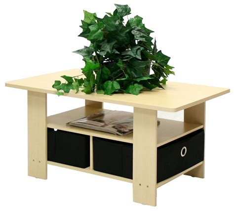 eco friendly coffee table in beech with black bin storage