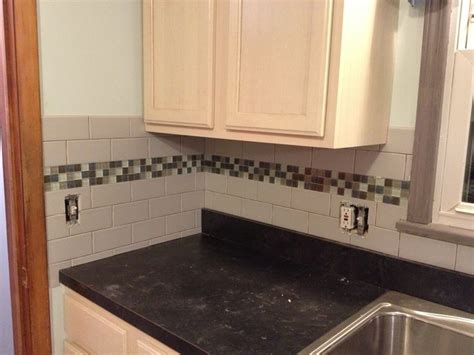 Subway tile backsplash with glass tile accent love my kitchen even more now around the house