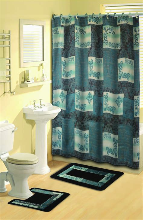 contemporary bathroom rugs sets modern scrolls shower curtain 15 pc bath rug mat contour
