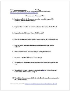 christmas truce world war  primary source worksheet  history wizard
