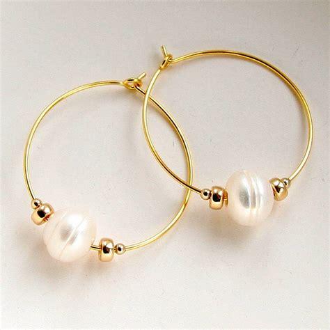 Freshwater Pearl Earring freshwater pearl hoop earrings by myhartbeading