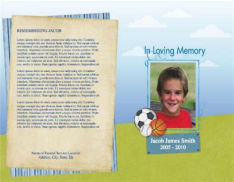 child funeral program template child funeral program