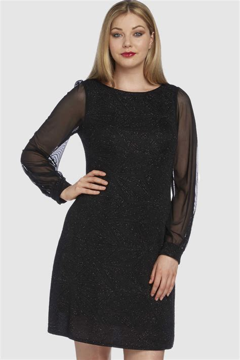 Sleeve Chiffon Dress glitter sparkle chiffon sleeve dress in black