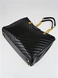 yves laurent black quilted grained leather monogram