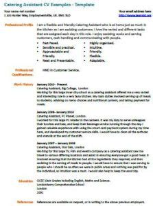 cv template kitchen assistant catering assistant cv exle learnist org