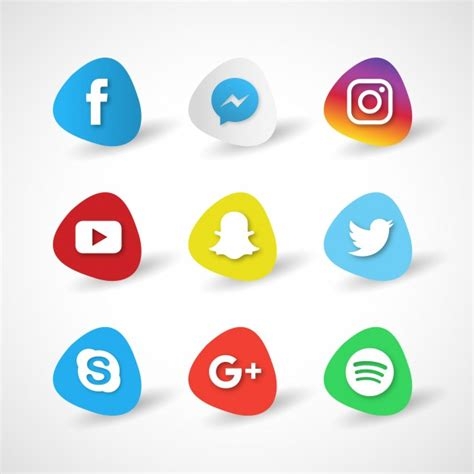 free sosial network icon icons for social networks on a white background vector