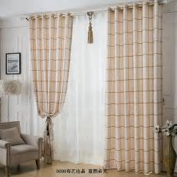 Plaid Curtains For Living Room Aliexpress Buy Bedroom Curtain Quality Linen Fluid Thickening Stripe Plaid Living Room