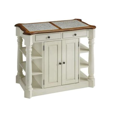 home depot kitchen islands americana wood and granite kitchen island in white and oak finish 5090 94 the home depot