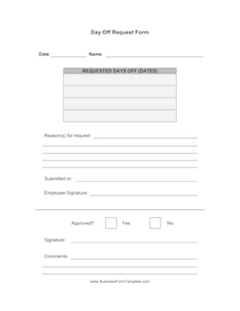 Day Request Letter Exle Day Request Form Template
