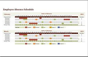 Schedule Template In Excel by Ms Excel Employee Absence Schedule Template Excel Templates