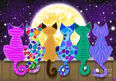 colorful cats colorful cats painting moon shadow meow by nick