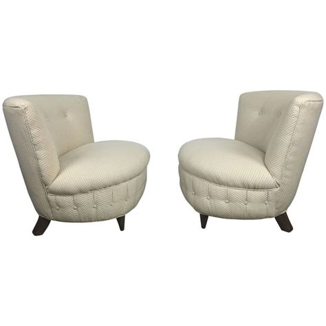 Tufted Slipper Chair Sale Design Ideas Pair Of Button Tufted Slipper Chairs By Gilbert Rohde For Sale At 1stdibs
