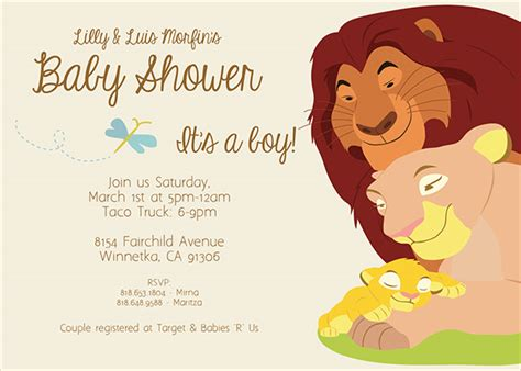 lion king baby shower invitation on behance