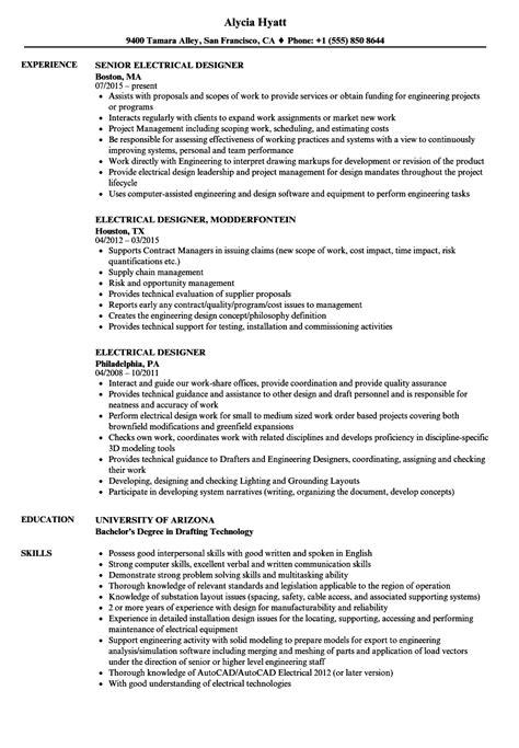 Electrical Resume by Electrical Designer Resume Sles Velvet