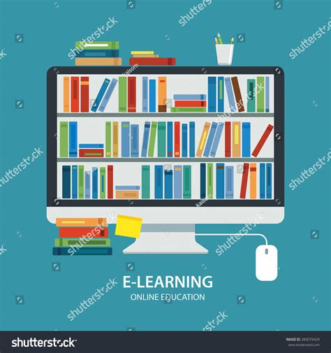 design online library online library education concept flat design stock vector