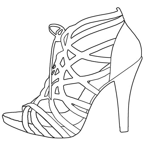 high heel shoe drawing templates sketch coloring page