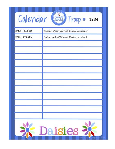 scout calendar template fashionable scouts daisies calendar word