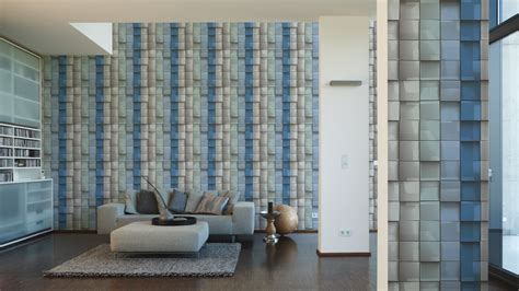 fliese 3d tapete kachel 3d fliese grau blau livingwalls 96020 1