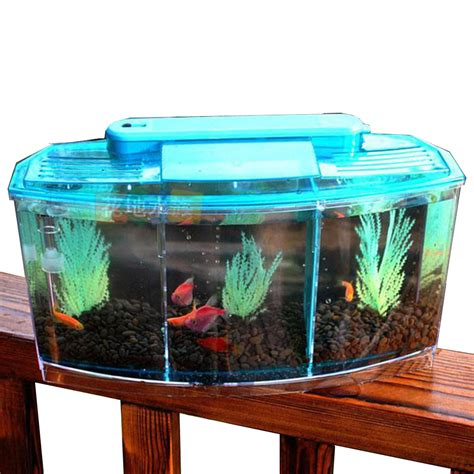 Small Home Aquarium 3 Compartment Acrylic Fish Shrimp Tank Small Aquarium With