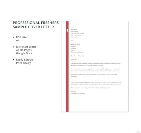 professional freshers sample cover letter template