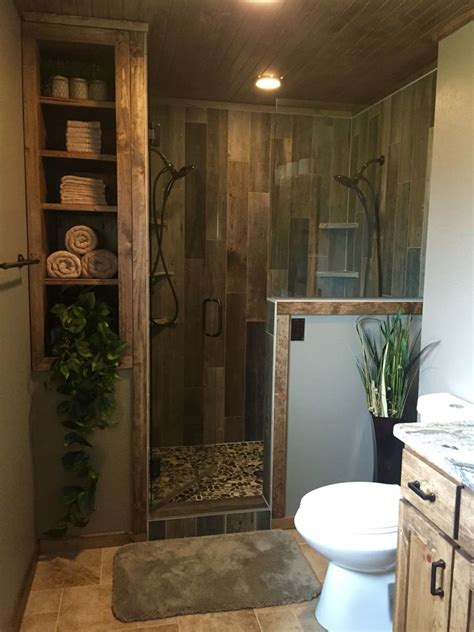 rustic master bathroom upgrade wood tile shower custom