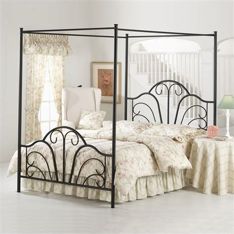 Hillsdale Dover Black Metal Canopy Bed Ebay Black Canopy Bed Frame