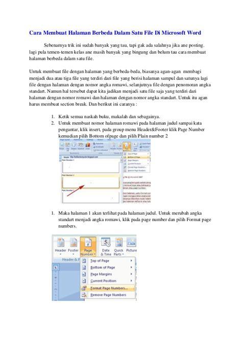 cara membuat halaman di word agar berbeda cara membuat nomer halaman berbeda di microsoft word