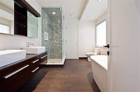 dark wood tile bathroom tile floor design ideas