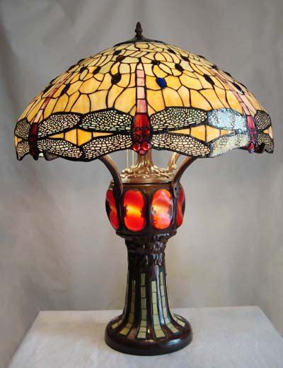 Table lamps dragonfly design w lighted base tiffany style table lamp
