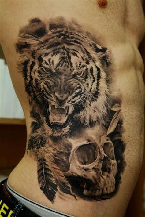 black tattoo ink animal bones black and gray realistic tiger and skull tattoo dmitriy