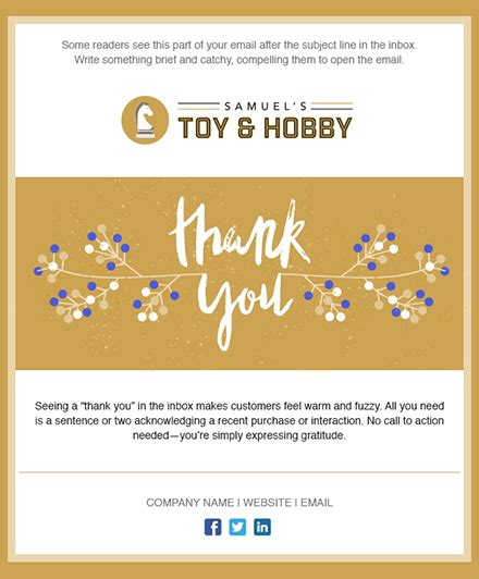 11 Holiday Email Templates For Small Businesses Nonprofits Thank You Email Template For Business