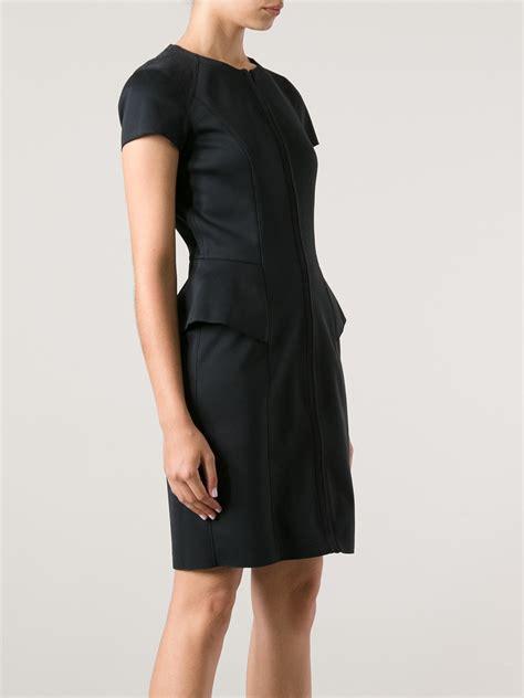 bm4192 zipper dress black lyst theory theory peplum front zip dress in black