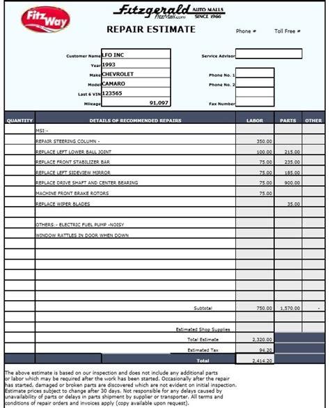 9 Free Sle Auto Repair Quotation Templates Printable Sles Repair Estimate Form Template Free