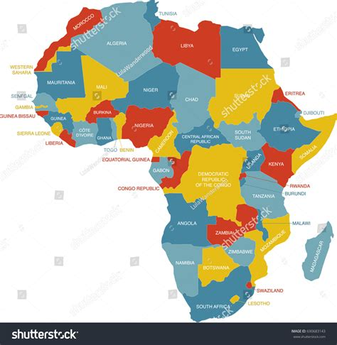 labeled map africa stock vector 690683143
