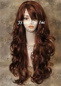 hair striking striking long wavy curly red layered wig with bangs