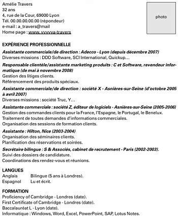 Exemple De Cv De Travail by Exemple De Cv Pour Travailler